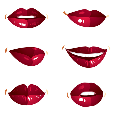 mouth close up: Collection of vector red female lips with makeup, different emotions of ladies. Simple beautiful female open and close up lips and mouth. Illustration