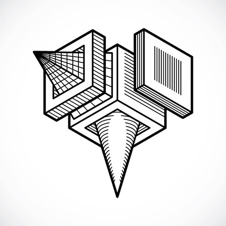 Abstract construction vector, dimensional design.