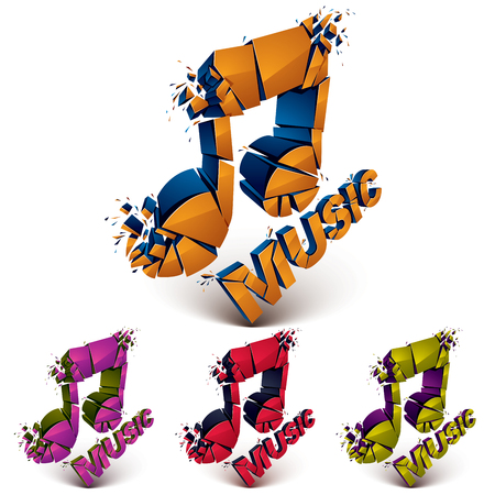 Set of 3d vector shattered musical notes with music word. Art melody transform symbols broken into pieces.
