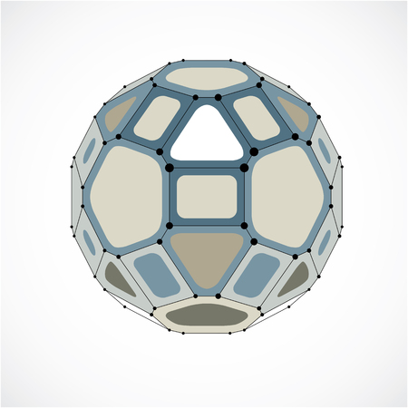 Vector dimensional wireframe low poly object, spherical gray facet shape with black grid. Technology 3d mesh element made using pentagons for use as design form in engineering.