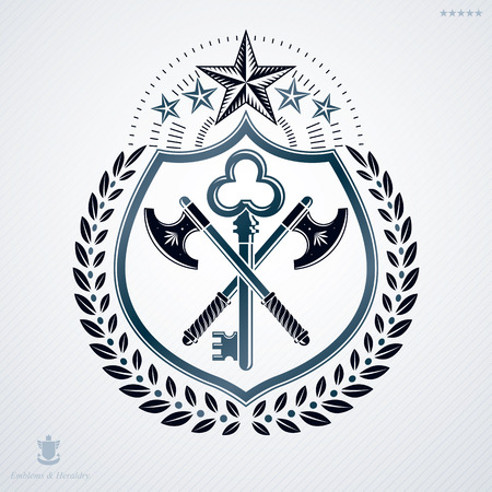 arsenal: Vector heraldic coat of arms decorated in vintage award design. Illustration