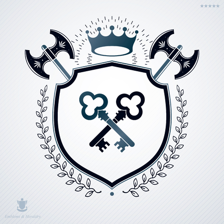 Classy emblem, vector heraldic Coat of Arms. Illustration