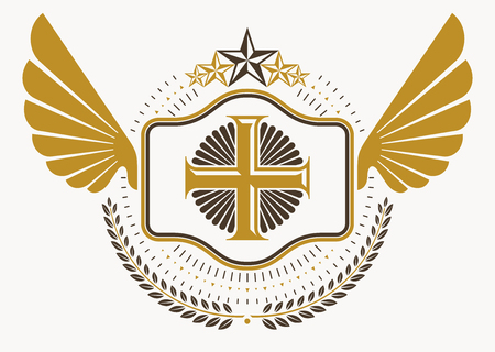armory: Vintage decorative heraldic vector emblem composed with eagle wings, Christian religious cross and pentagonal stars Illustration