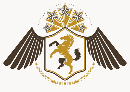 Vintage decorative heraldic vector emblem composed with eagle wings, horse illustration and pentagonal stars