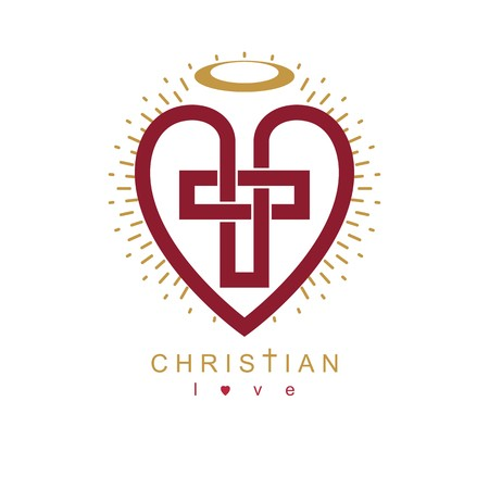 credence: Love of God conceptual symbol combined with Christian Cross and heart, vector creative logo.