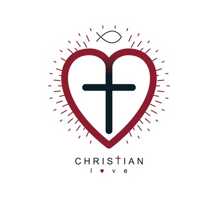 credence: God Christian Love conceptual logo design combined with Christian Cross and heart, vector creative symbol.
