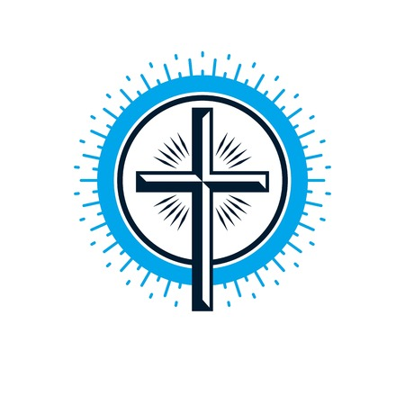 Christian Cross true belief vector religion symbol, Christianity Jesus icon. Illustration