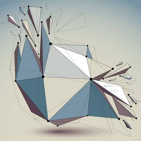wrecked: Abstract vector low poly wrecked object with black lines and dots connected. 3d origami futuristic form with lines mesh. Digital technology network element.