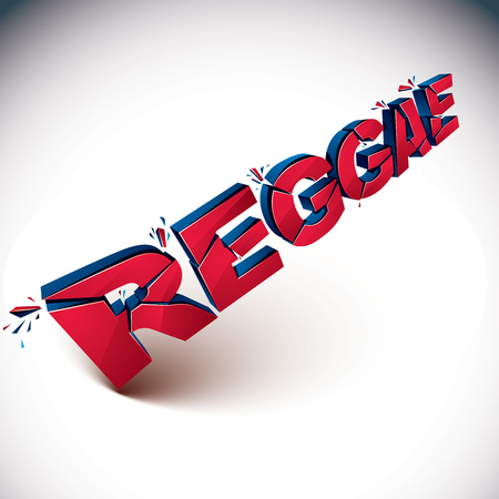 3d shattered vector red reggae word created with refractions. Dimensional inscription with specks isolated on white background. Illustration