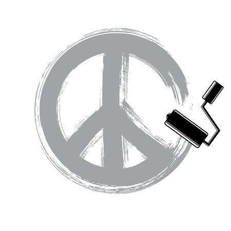 Hand-drawn vector peace sign, antiwar symbol from 60s made with brushstrokes. Hippie theme art icon created with paintbrush. Illustration