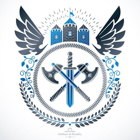 citadel: Vintage award design, vintage heraldic Coat of Arms. Vector emblem. Illustration