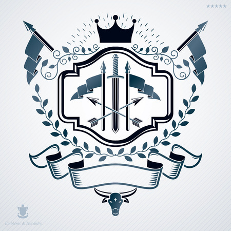laurel leaf: Vintage vector emblem made in heraldic design and decorated with laurel leaf, monarch crown and weapon