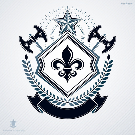 Vintage vector emblem made in heraldic design and decorated with laurel leaf and two hatchets