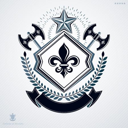 laurel leaf: Vintage vector emblem made in heraldic design and decorated with laurel leaf and two hatchets