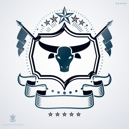 armory: Vintage vector emblem made in heraldic design and decorated with pentagonal stars and buffalo head