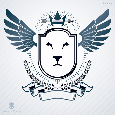 lion wings: Vintage vector emblem made in heraldic design and decorated with royal crown stars and lion head Vectores