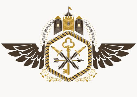 Vector vintage heraldic coat of arms created in award design and decorated using eagle wings and medieval stronghold Illustration