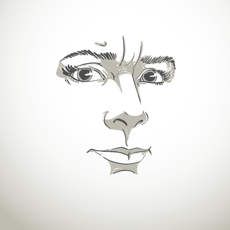 goodlooking: Vector portrait of irate woman, illustration of good-looking but angry female. Person emotional face expression, visage features.