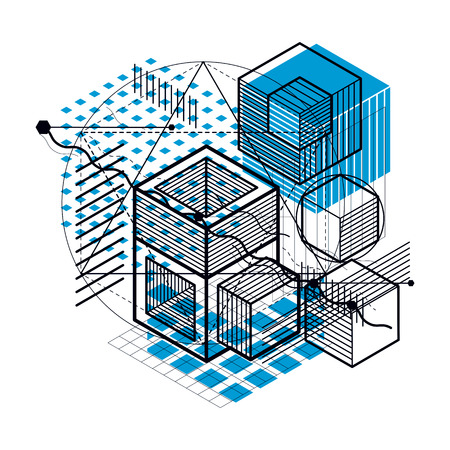 Abstract vector background with isometric lines and shapes. Cubes, hexagons, squares, rectangles and different abstract elements.