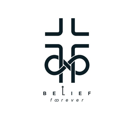 True Infinite Christian Belief in God, vector creative symbol design, combined with infinity eternal loop and Christian Cross, vector logo or sign. Иллюстрация