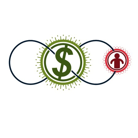 everlasting: The Global Financial System conceptual logo, unique vector symbol. Dollar signs, circulation of money.