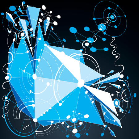 3d vector abstract blue background created in Bauhaus retro style. Dimensional geometric composition with low poly shattered object and graphic elements can be used as templates and layouts. Illustration