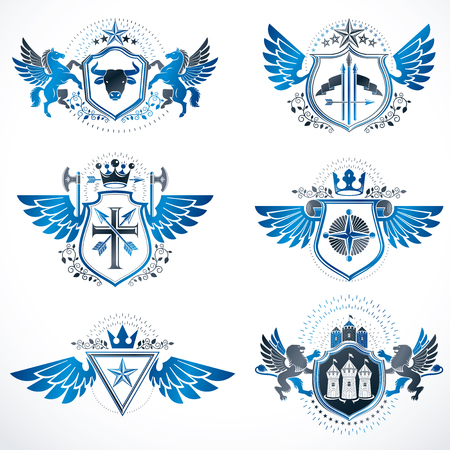 citadel: Vintage heraldry design templates, vector emblems created with bird wings, crowns, stars, armory and animal illustrations. Collection of vintage style symbols. Illustration