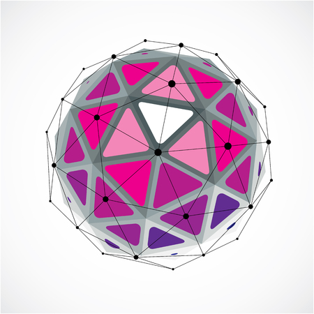 3d vector digital wireframe spherical object made using triangular facets. Geometric polygonal structure created with lines mesh. Low poly shape, purple lattice form for use in web design.