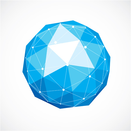 3d vector low poly spherical object with white connected lines and dots, geometric blue wireframe shape. Perspective orb created with triangular facets.
