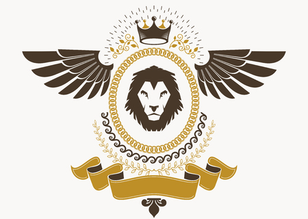 winged lion: Heraldic Coat of Arms decorative emblem with bird wings, vector illustration of royal crown and wild lion Vectores