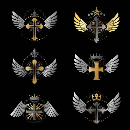 crosses: Crosses Religious emblems set. Heraldic Coat of Arms, vintage vector logos collection.