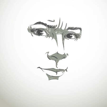 Vector portrait of irate woman, illustration of good-looking but angry female. Person emotional face expression, visage features.