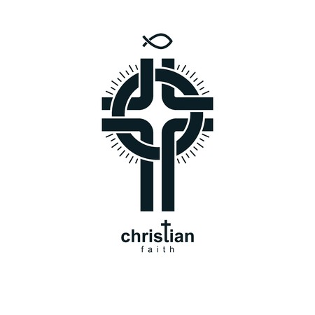 credence: Christian Cross vector symbol, Christianity God religion icon.