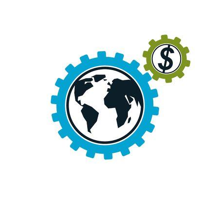 Financial System conceptual logo, unique vector symbol. Dollar signs, circulation of money. Illustration