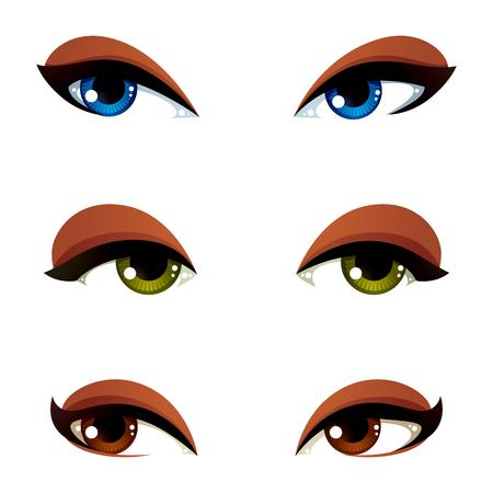 벡터 파란색, 갈색 및 녹색 눈 집합입니다. 다른 감정을 표현하는 여성의 눈, 여성을 유혹의 얼굴 특징.