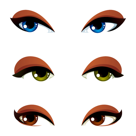 features: Set of vector blue, brown and green eyes. Female eyes expressing different emotions, face features of seducing women. Illustration