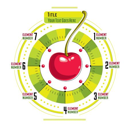 Creative infographics concept, centered round composition with cherry and segments,vector illustration. Illustration