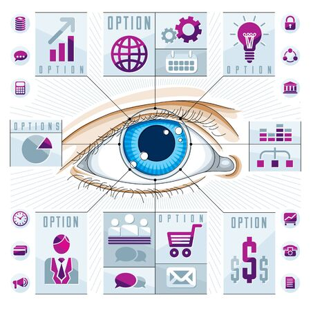 human eye: Infographics template, human eye, looking eye idea, vector illustration.