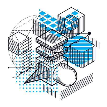 Abstract design with 3d linear mesh shapes and figures, vector isometric background. Cubes, hexagons, squares, rectangles and different abstract elements. Illustration