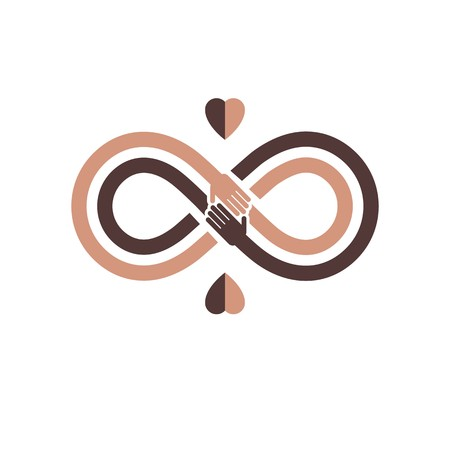 Racial Tolerance between different Nations conceptual symbol, Martin Luther King Day, Zero tolerance, vector symbol created with infinity loop sign and two hands of people of different races touching and reaching each other.
