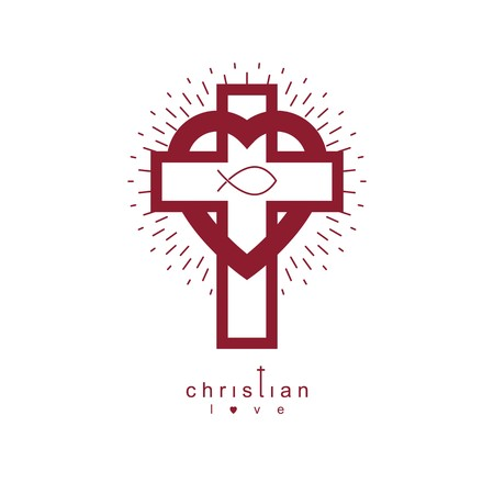 immortal: God Christian Love conceptual logo design combined with Christian Cross and heart, vector creative symbol.