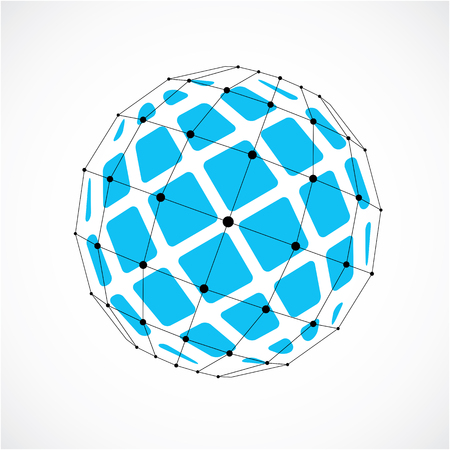 3d vector digital wireframe spherical object made using facets. Geometric polygonal blue structure created with lines mesh and squares. Low poly shape, lattice form for use in web design.