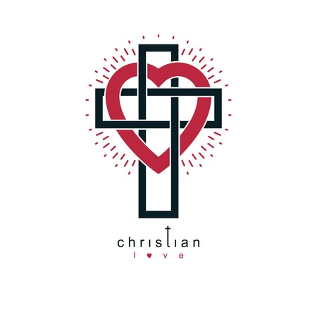 Christian Love and True Belief in God vector creative symbol design, combined with Christian Cross and heart, vector logo or sign.