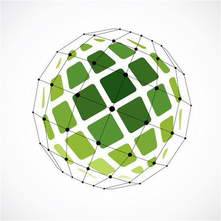 3d vector low poly spherical object with black connected lines and dots, geometric green wireframe shape. Perspective facet orb created with squares.