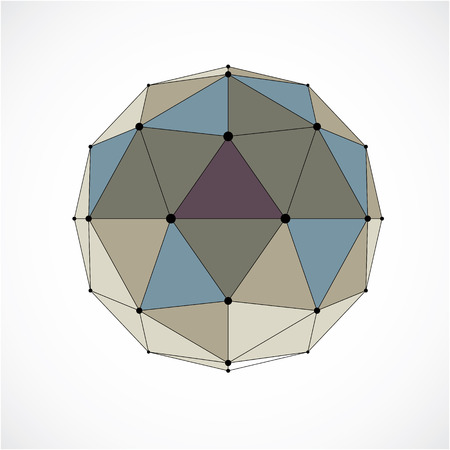 3d vector digital wireframe spherical object made using triangular facets. Geometric polygonal structure created with lines mesh. Low poly shape, colorful lattice form for use in web design.