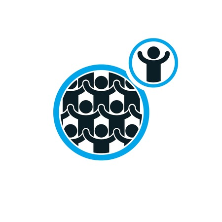 interacts: Mankind and Person conceptual logo, unique vector symbol created with different icons. System and social Matrix sign. Person and world interacts with each other. System and social Matrix sign. Illustration