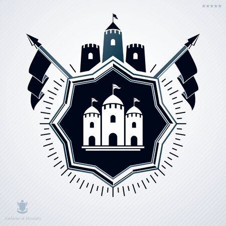 armory: Vintage decorative heraldic vector emblem composed using medieval fortress and flags Illustration