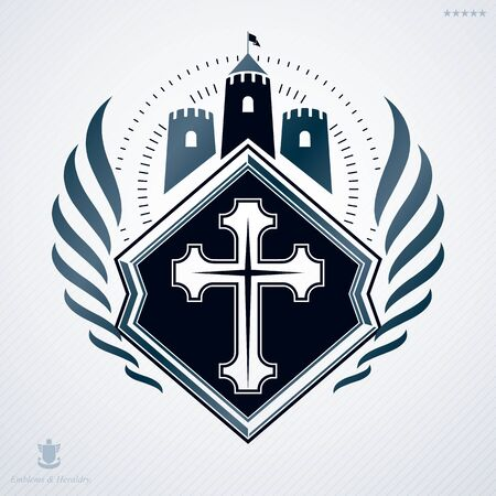 armory: Vintage decorative heraldic vector emblem composed with medieval castle and religious cross