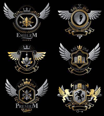 leon con alas: emblemas heráldicos vintage decorativos vector compuestas con elementos como alas de águila, cruces religiosas, arsenal y castillos medievales, los animales. Colección de ilustraciones simbólicas con clase. Vectores