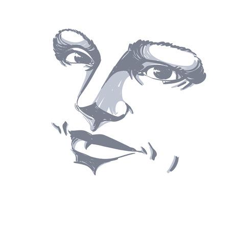 Zwart-wit silhouet van vreedzame aantrekkelijke dame, gezichtseigenschappen. Hand-drawn vectorillustratie van vrouwengezicht, overzicht.